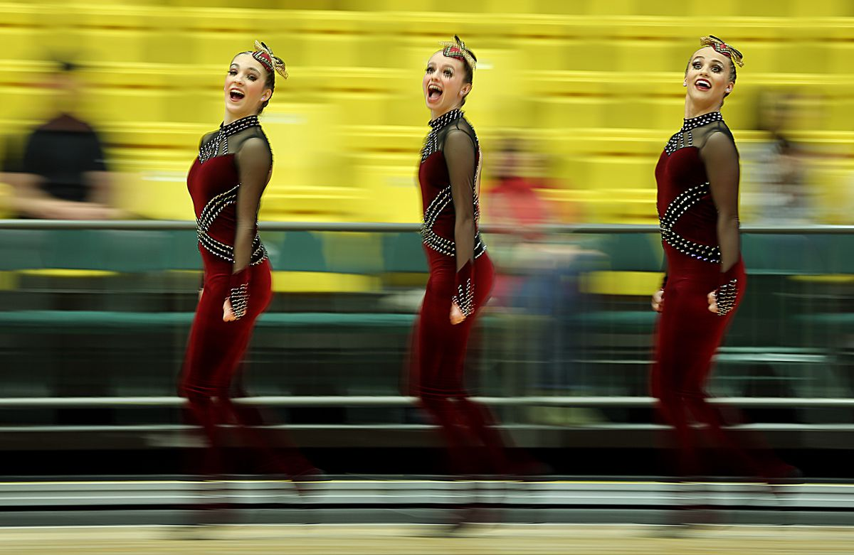 Maple Mountain's drill team competes in the military portion of the 5A state championships at UVU in Orem on Saturday, Feb. 1, 2020.