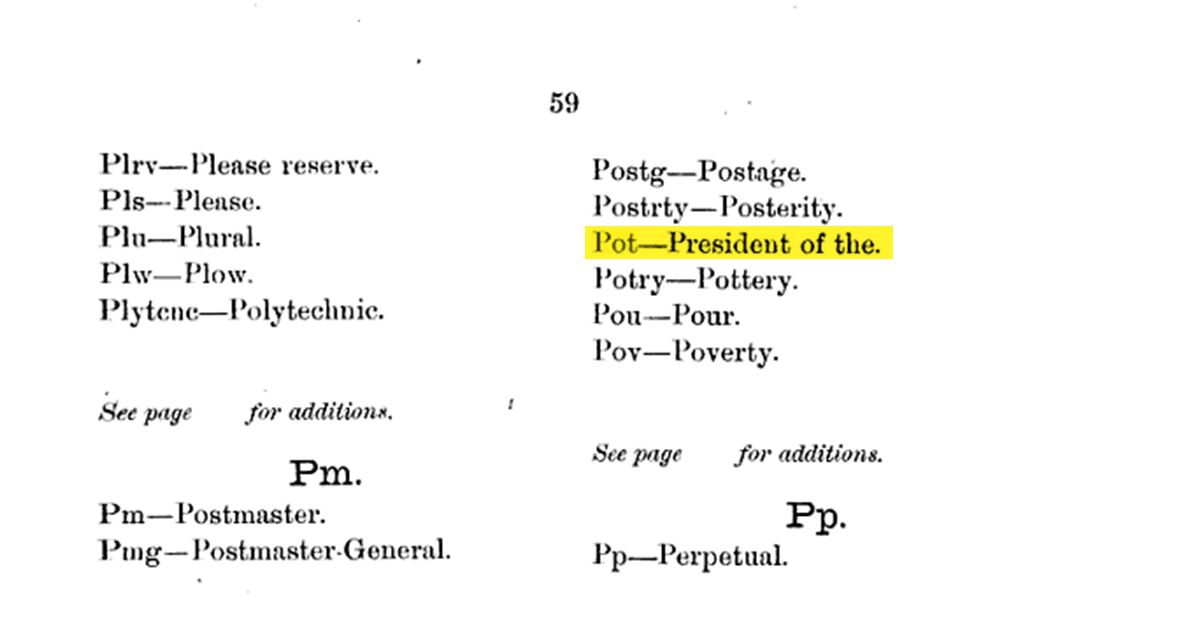 """An early definition of """"POT"""""""