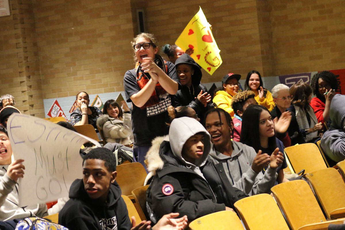 Global Tech Prep community members spoke out about plans to merge the school at a recent public hearing.