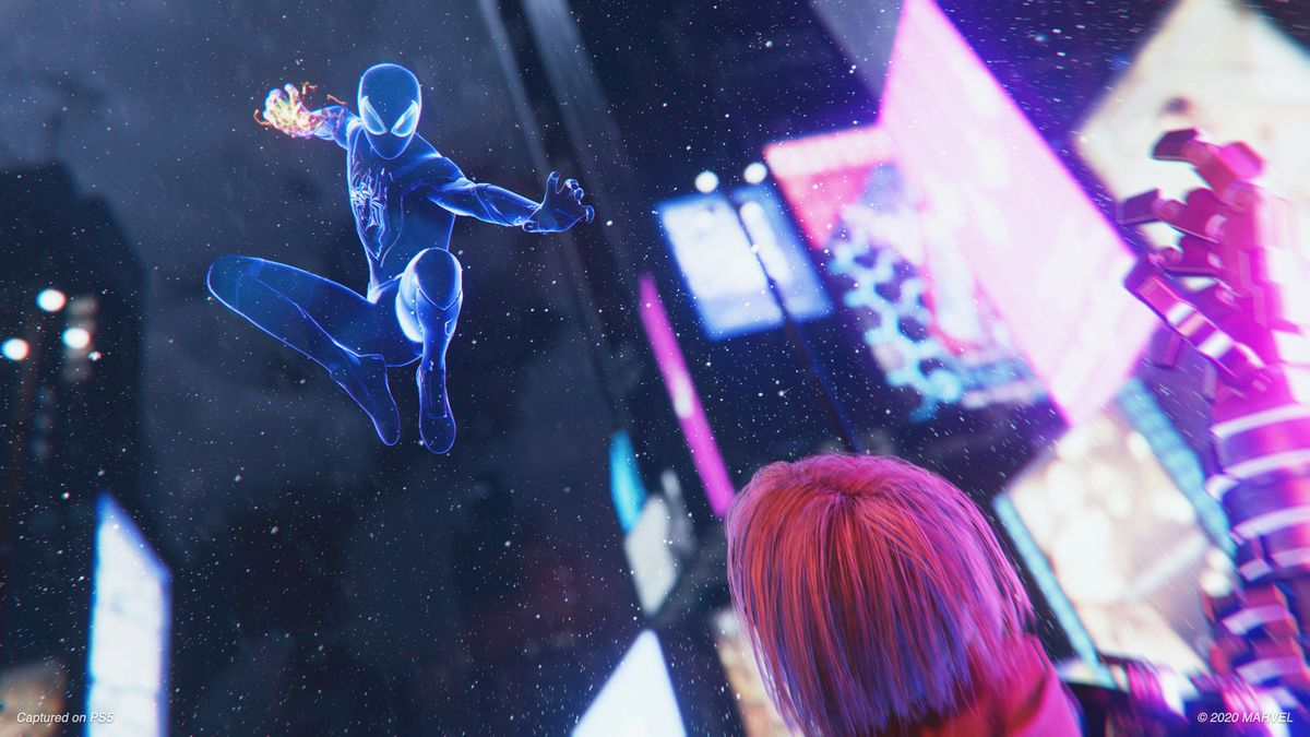 Spider-Man in his stealth suit preparing a punch in midair in Spider-Man: Miles Morales