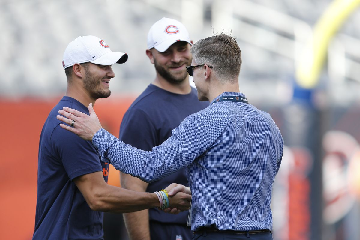 """Bears general manager Ryan Pace (greeting Mitch Trubisky and Kyle Long prior to the preseason game against the Titans last August) said he was impressed with Trubisky's reaction to the team declining the fifth-year option on his rookie contract. """"I think it's going to be fun to see this play out."""""""