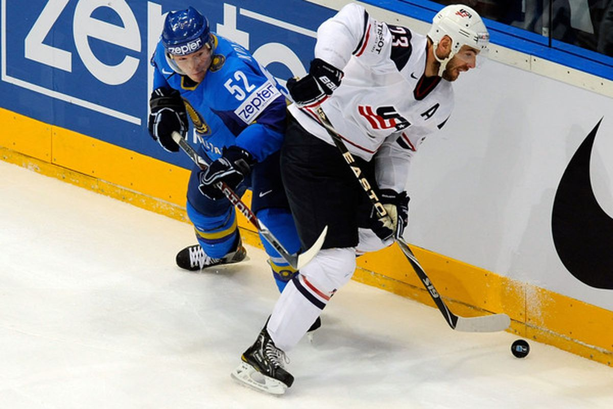 Team USA certainly didn't expect to play Kazakhstan at the 2010 IIHF World Championships. (Photo by Thorsten Wagner/Bongarts/Getty Images)