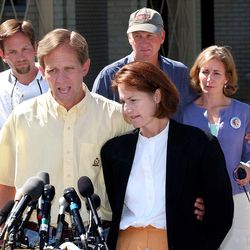 Ed and Lois Smart and other members of their family speak to the Media at a Press conference Monday June 24, 2002 in Salt Lake City Utah.
