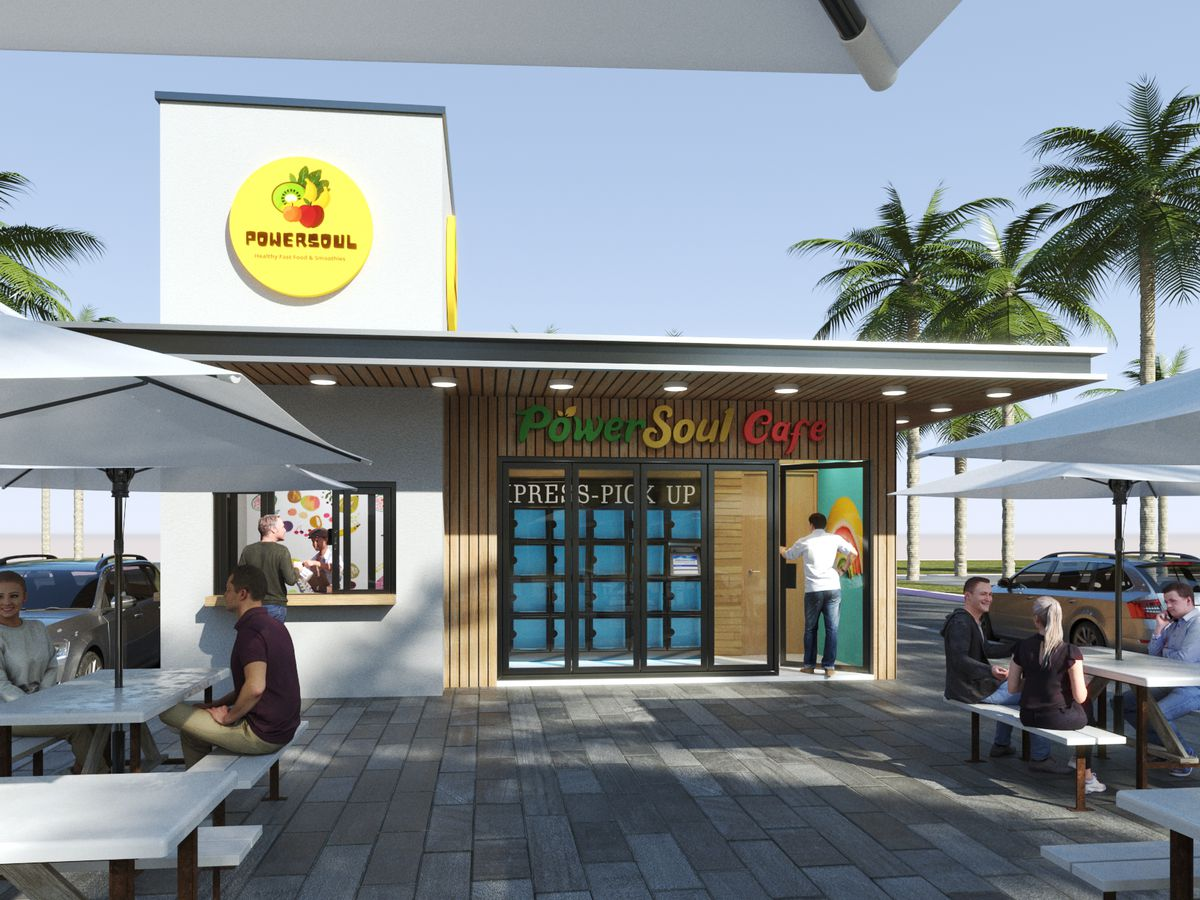A rendering of a quick-service restaurant with a yellow circle logo on top