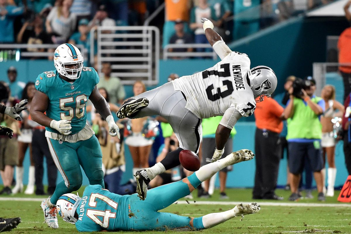 Image result for dolphins raiders 2017 fumble