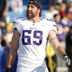Aug 16, 2013; Orchard Park, NY, USA; Minnesota Vikings defensive end Jared Allen (69) before the game against the Buffalo Bills at Ralph Wilson Stadium.