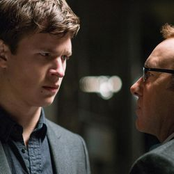 """Doc (Kevin Spacey) tells Baby (Ansel Elgort) he will do the next job, and he will make a lot of money in """"Baby Driver."""""""