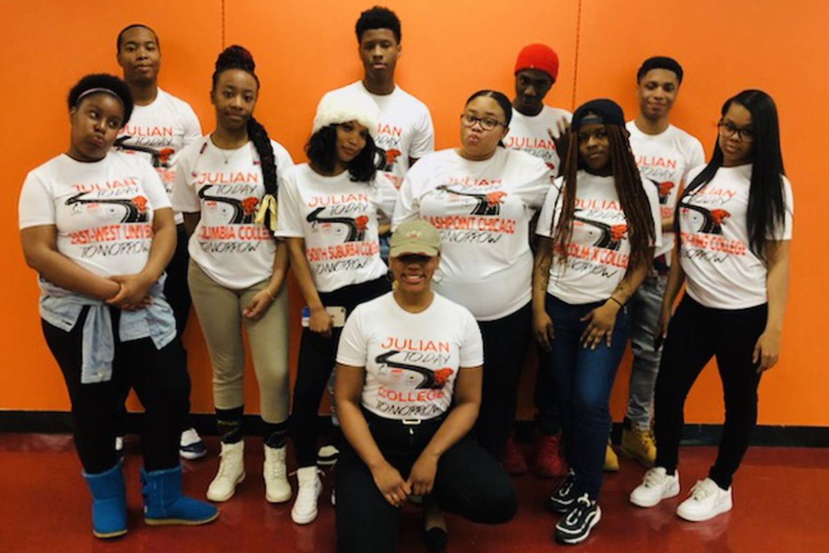 Dominicca Washington and her students at Julian High School in Chicago.