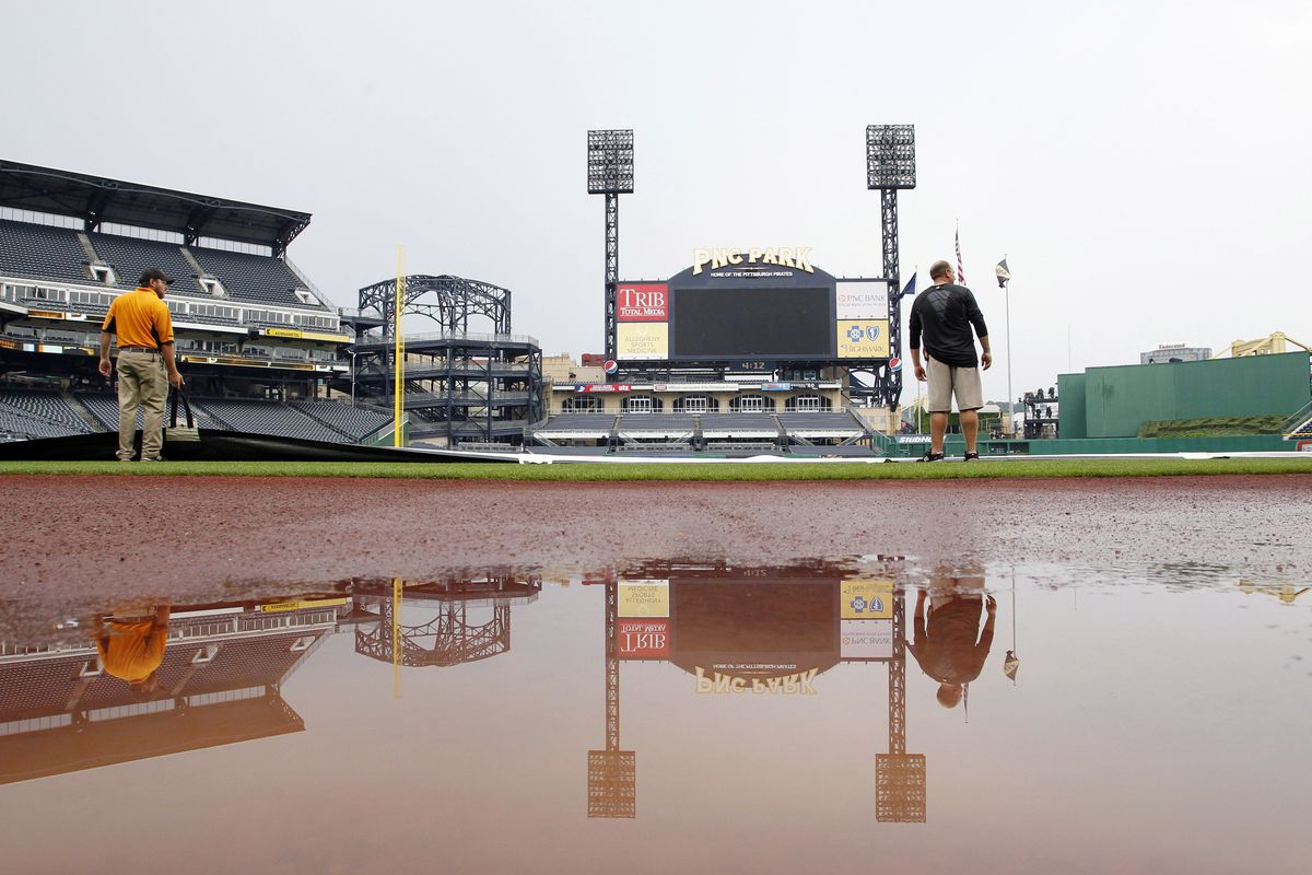 Lots of water on the baseball field where the A's are supposed to play a game tonight.