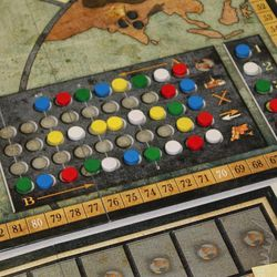 """The action display, from Mayfair Games' Rise of Empires, requires players to select actions for both an """"A"""" turn and a """"B"""" turn for each historical era."""