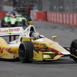 IndyCar driver Ryan Hunter-Reay, of United States, steers his car on the IndyCar Sao Paulo 300 track in Sao Paulo, Brazil, Sunday, April 29, 2012.