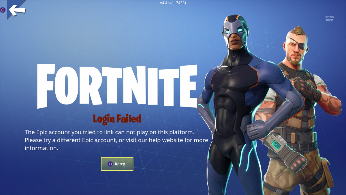 PS4 and Switch Fortnite accounts lock each other out