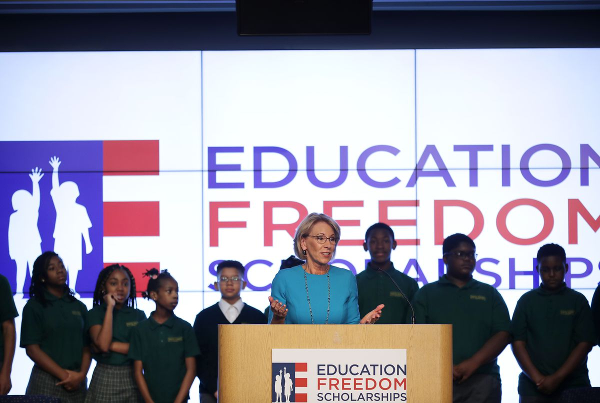 Education Secretary Betsy DeVos speaks about her proposal for a federal tax credit that would help parents pay for private school in February 2019.