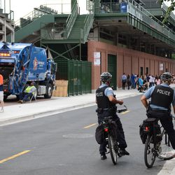 4:44 p.m. CPD bicycle patrol officers on Sheffield -