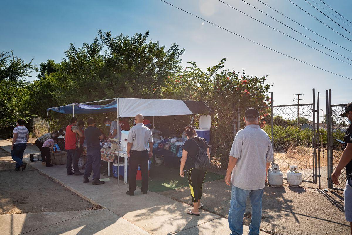Customers wait at Antontonilco El Grande in Arleta, California.