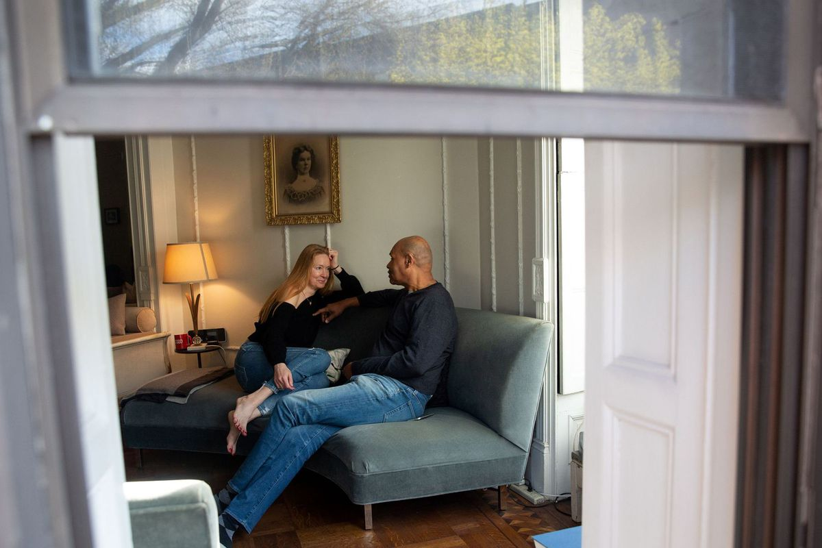 Anne Vandergrift and Gary Rich spend time together in their Bed-Stuy apartment during the coronavirus outbreak, April 10, 2020.