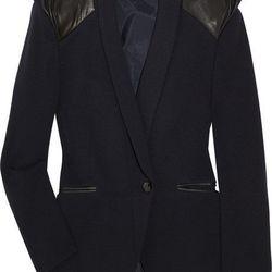 "<b>Mackage</b> peak-shouldered wool-blend and leather jacket, was $450, now <a href=""http://www.theoutnet.com/product/254656?cm_mmc=LinkshareUS-_-Custom-_-Link-_-Builder&siteID=J84DHJLQkR4-WoNEZCt1T15DoP52xj2P3Q"">$202.50</a>."