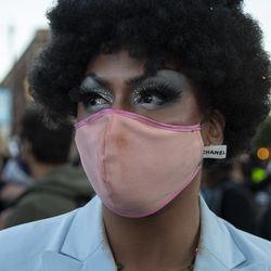 """Jo Mama poses for a portrait after the """"Drag March for Change"""" on Halsted Street in Lakeview, Chicago, Sunday, June 14, 2020."""
