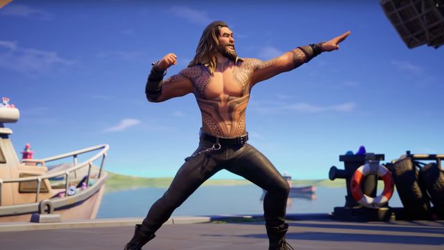 Shirtless Jason Mamoa with his Aquaman tattoos in Fortnite