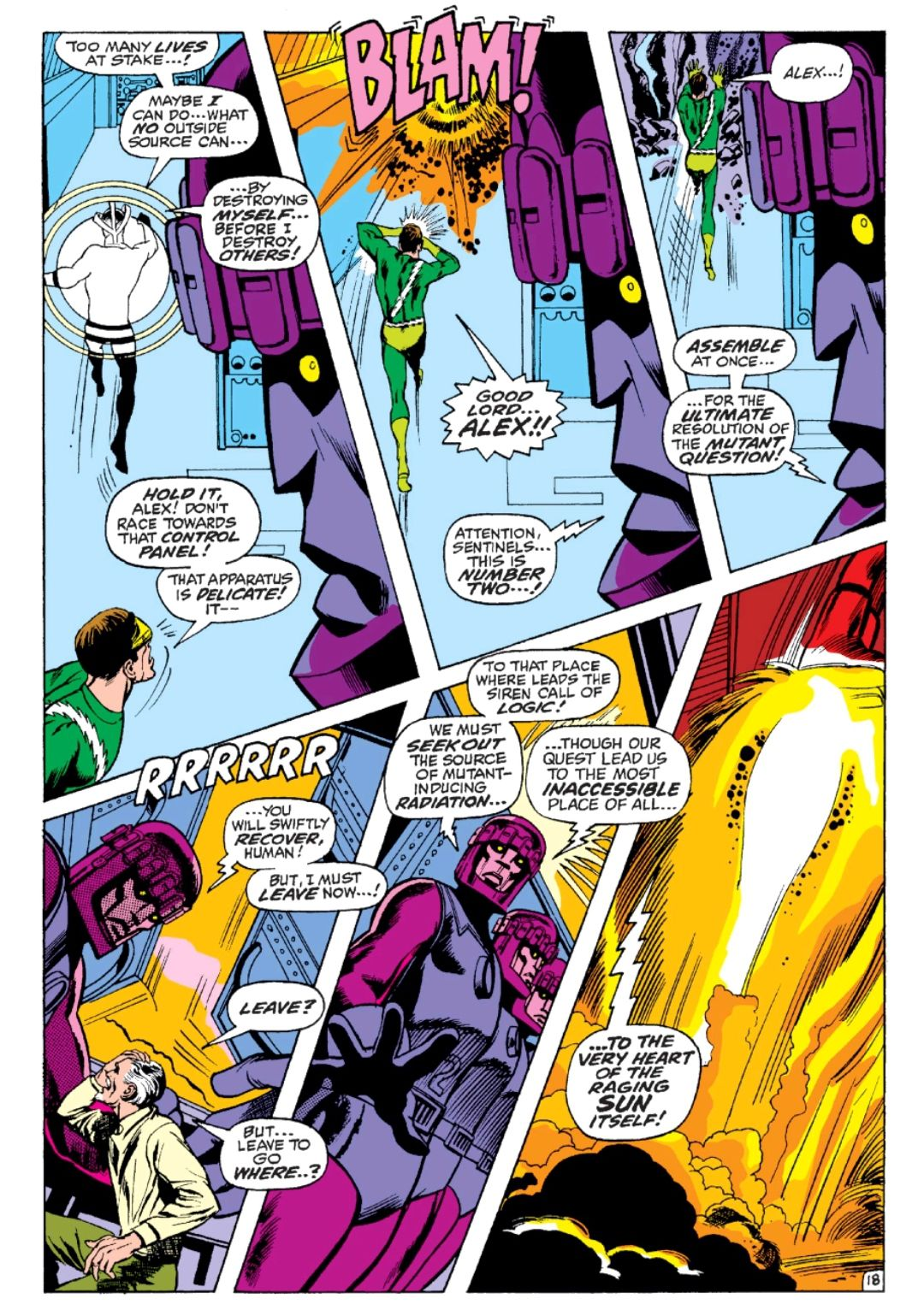 Sentinels decide that they must fight the sun, in X-Men #59, Marvel Comics (1969).