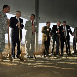 Dignitaries get ready to shovel dirt at the groundbreaking for the first Intelligence Community Comprehensive National Cybersecurity Initiative (CNCI) Data Center at Camp Williams, Utah on Thursday, Jan. 6, 2011.