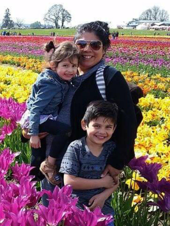Utahna Halona with her children.