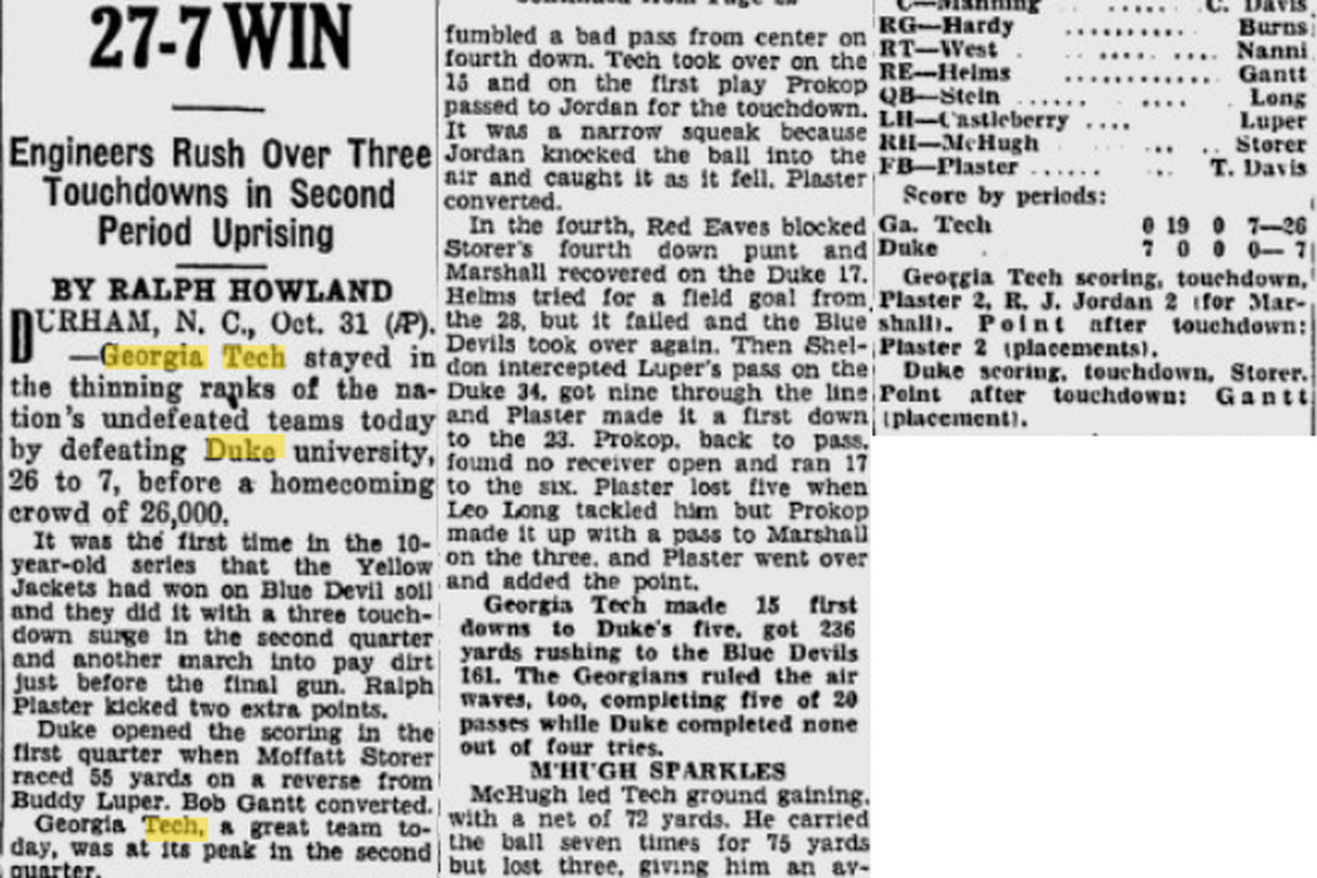 November 1, 1942 article featuring Clint Castleberry and Eddie Prokop.