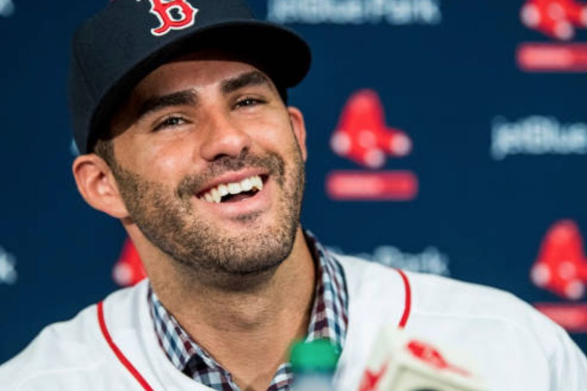 19464e0bd J.D. Martinez of the Boston Red Sox reacts as he speaks during a press  conference announcing his signing in Fort Myers