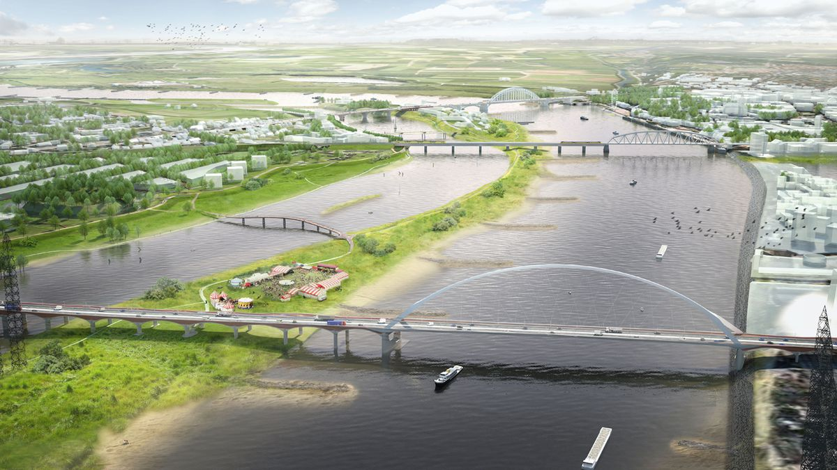 A spirit of compromise between national government and local communities led to the Dutch plan called Room for the River, which did what its name implies and made room for rivers by restoring natural features while asking some residents to move. Photo by Room for the River Waal