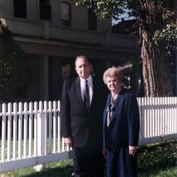President Thomas S. Monson and his wife, Frances, stand in front of David O. McKay's home in Huntsville, UT. in Oct. 14, 1995.