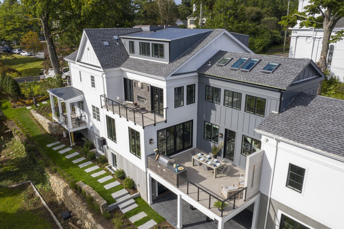 overhead view of TOH 2019 Idea House at New Canaan; multi-level porches