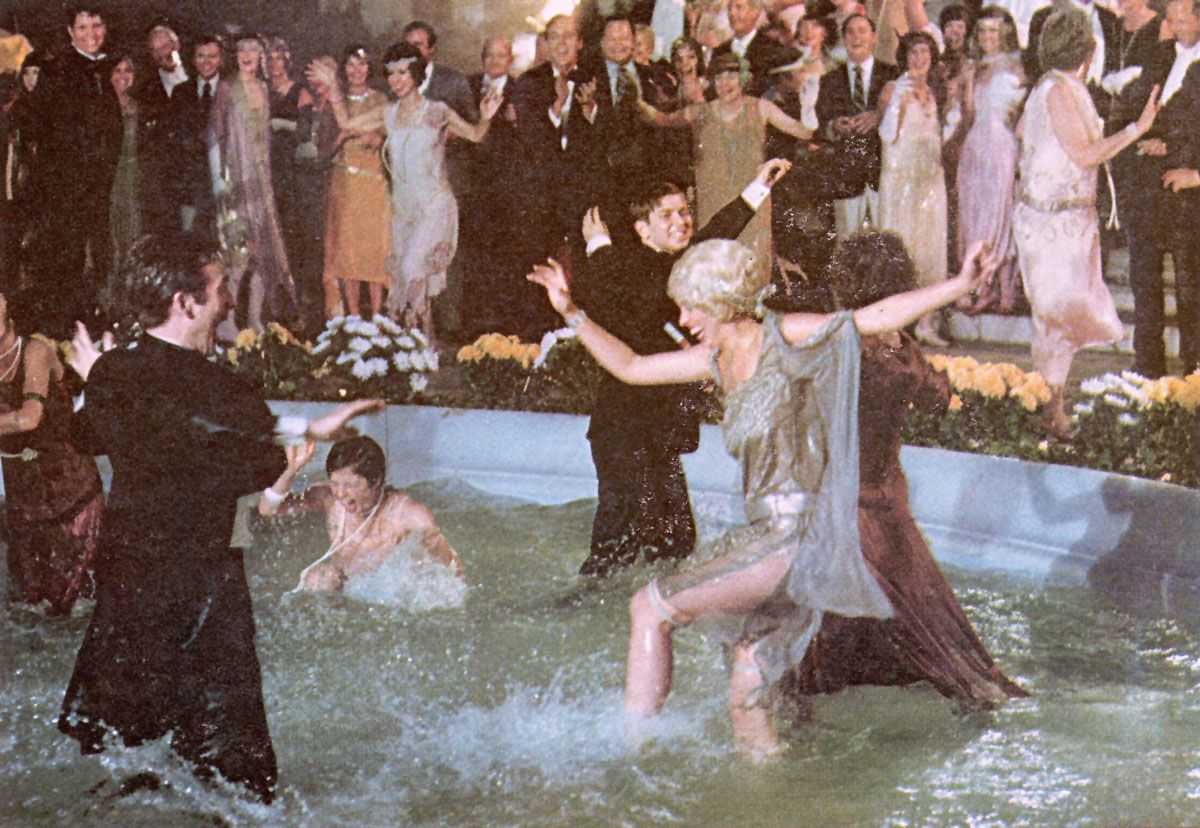 a still from The Great Gatsby party fountain scene