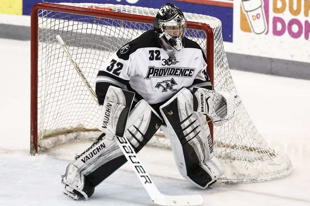 Providence goaltender Jon Gillies made 17 of his 37 saves in the third period.