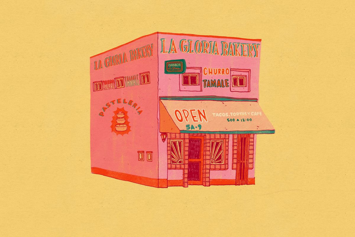 A bright pink illustration of La Gloria Bakery in Detroit on a banana yellow background.