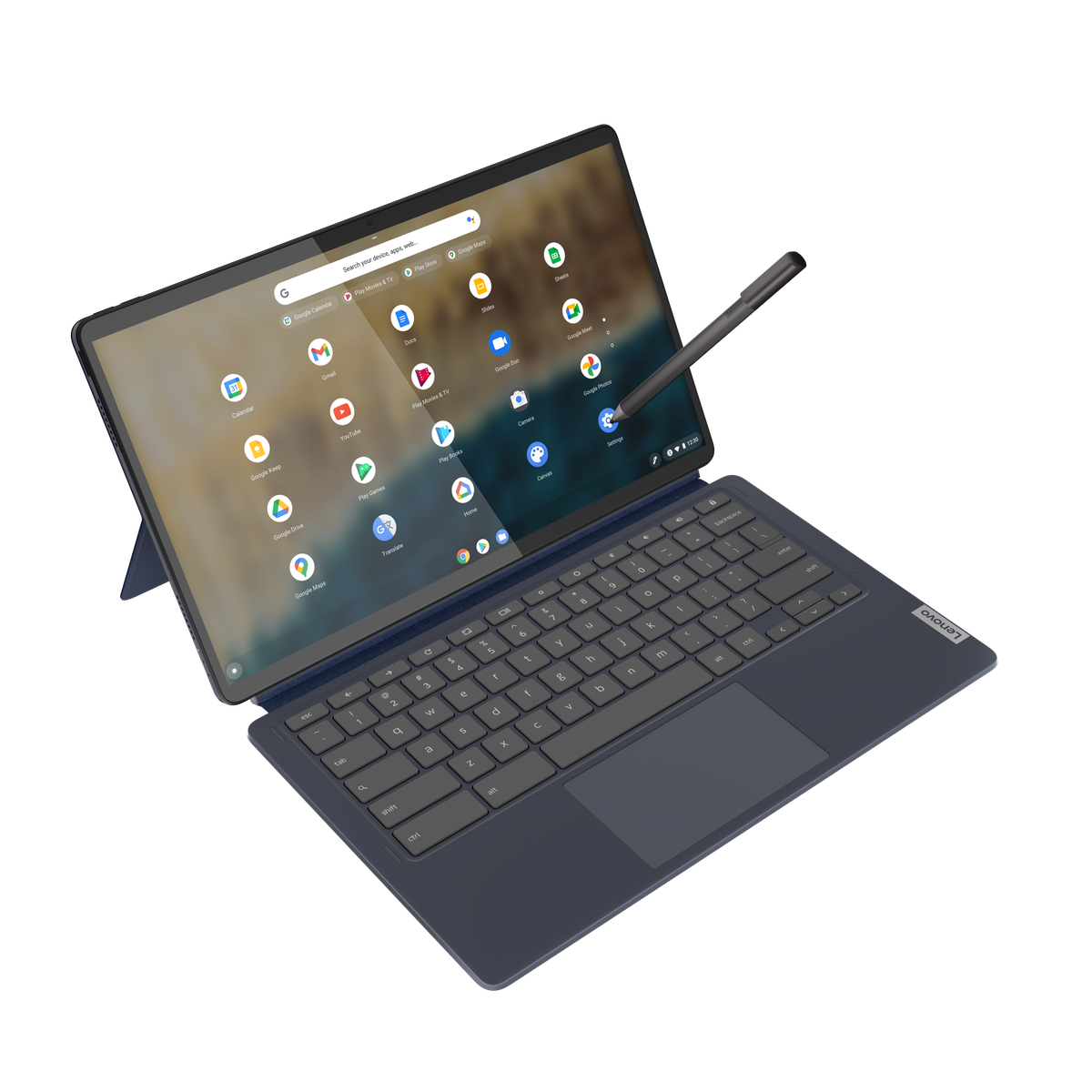 The Lenovo Chromebook Duet in laptop mode, seen from above on a white background with the stylus perpendicular to the right side of the panel. The screen displays the Chrome OS launcher.