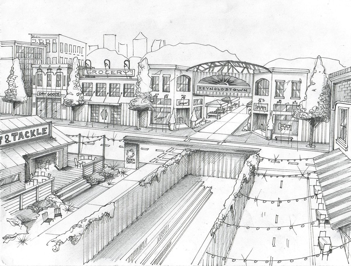 """A sketch of """"Reynoldstown Village,"""" which would feature small businesses, cafes, and more, with a Beltline path running straight through it."""