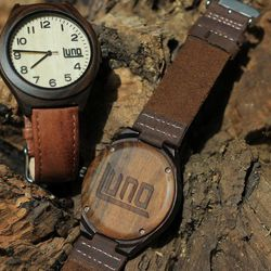 Luno watches are made with wood but have a leather band.
