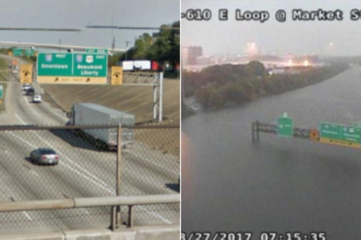 A before and after photo of Houston, which has seen massive amounts of flooding in the wake of Hurricane Harvey.
