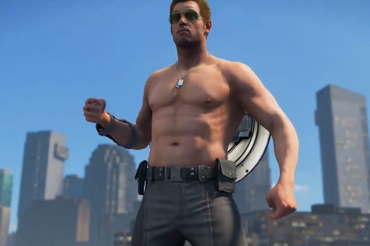 Marvel's Avengers - Captain America poses without a shirt on, showing off his abs.
