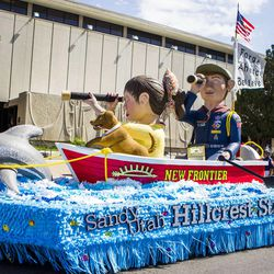 The Sandy Utah Hillcrest Stake float is pictured during the Days of '47 Union Pacific Railroad Youth Parade held Saturday, July 18, 2015, in Salt Lake City.
