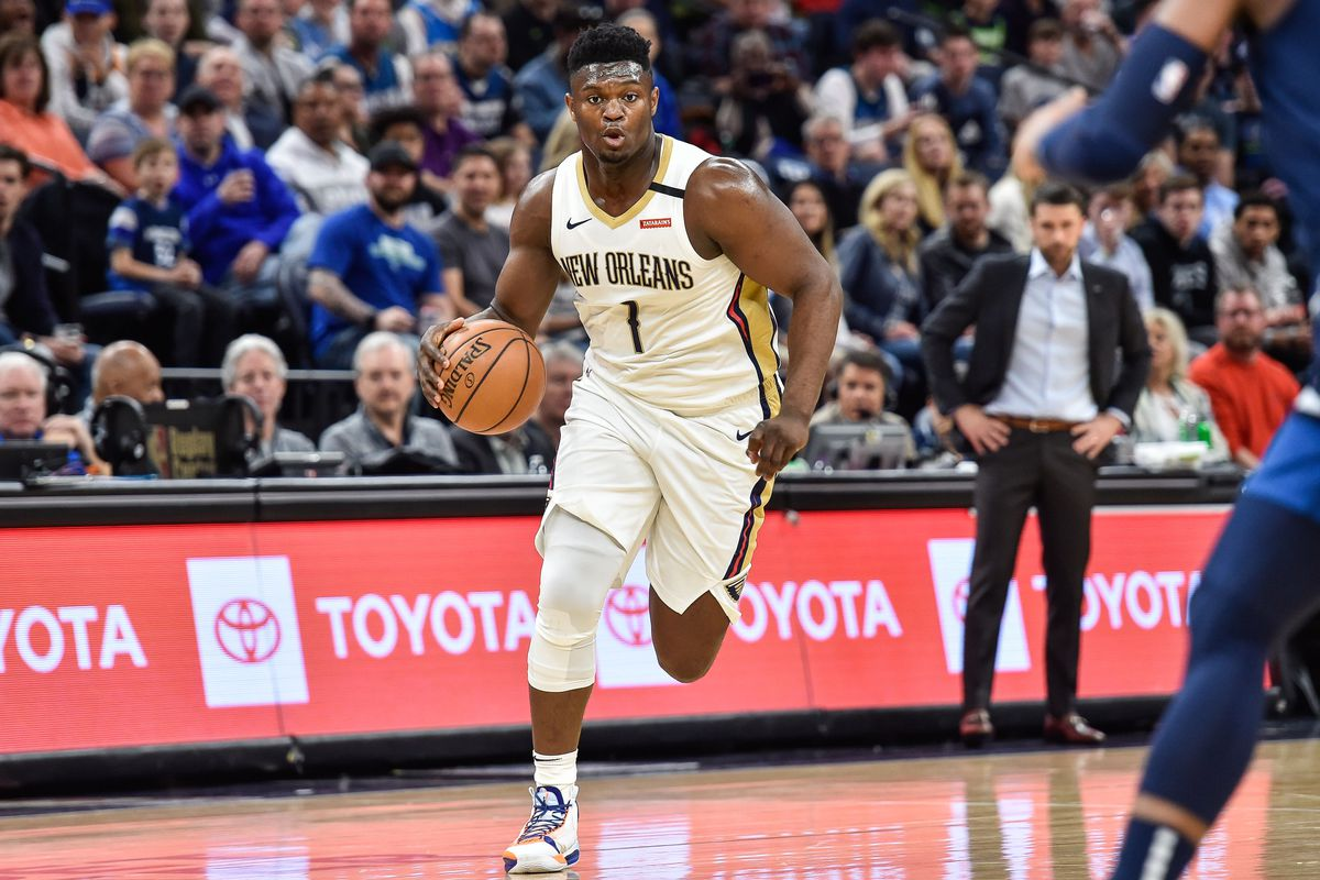 New Orleans Pelicans forward Zion Williamson controls the ball against the Minnesota Timberwolves during the first quarter at Target Center.