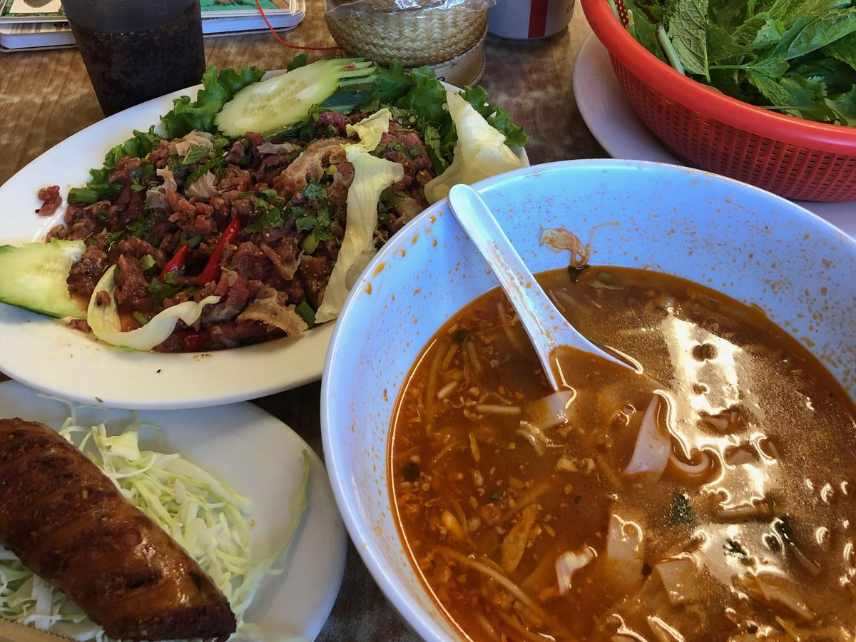 Fermented Lao sausage, soup, and other dishes at Vientian Cafe