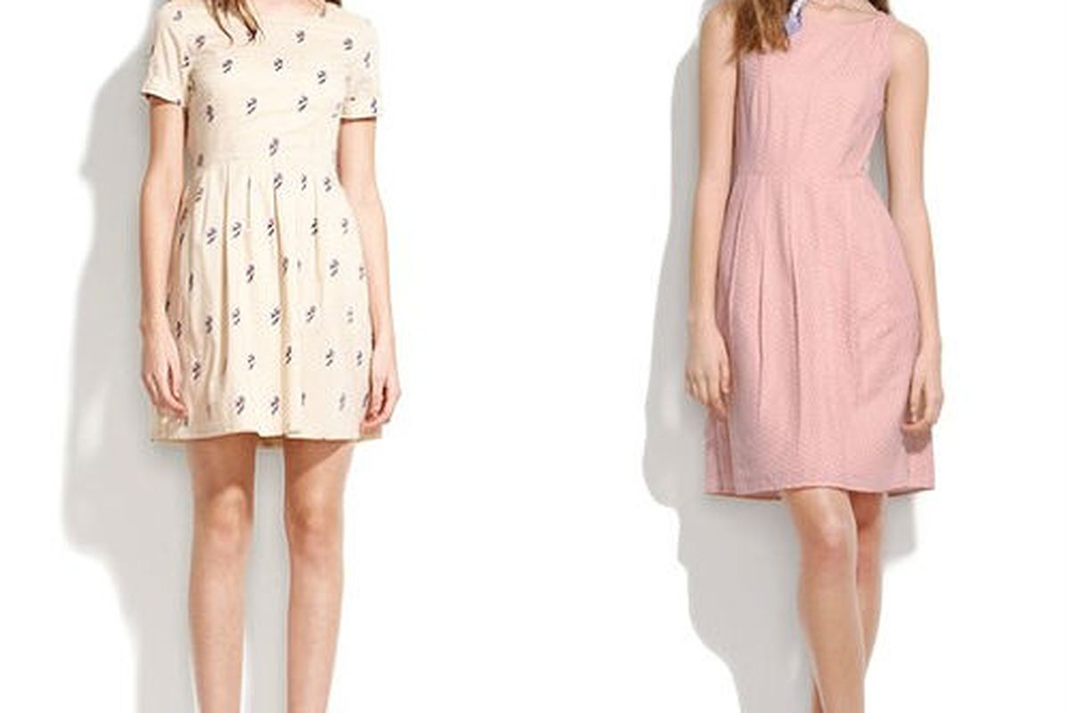 "<a href=""http://www.madewell.com/newarrivals/25offspringfavorites/PRDOVR~70957/70957.jsp"">Roseblossom songbird dress</a>, $99 (was $138) and the <a href=""http://www.madewell.com/newarrivals/25offspringfavorites/PRDOVR~72252/72252.jsp"">soft dot dress"