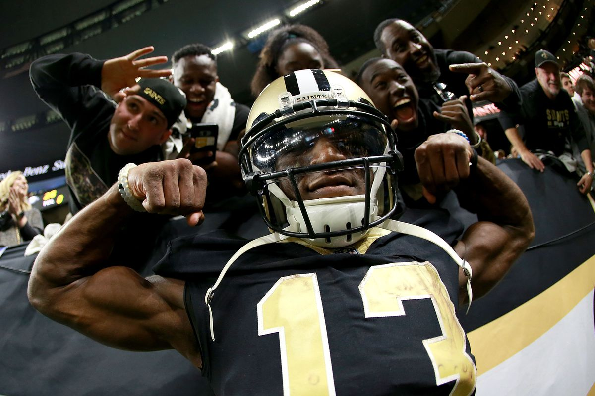 NEW ORLEANS, LA: New Orleans Saints wide receiver Michael Thomas (13) celebrates after a victory over the Carolina Panthers during the 2018 NFC Wild Card playoff game at the Mercedes-Benz Superdome.