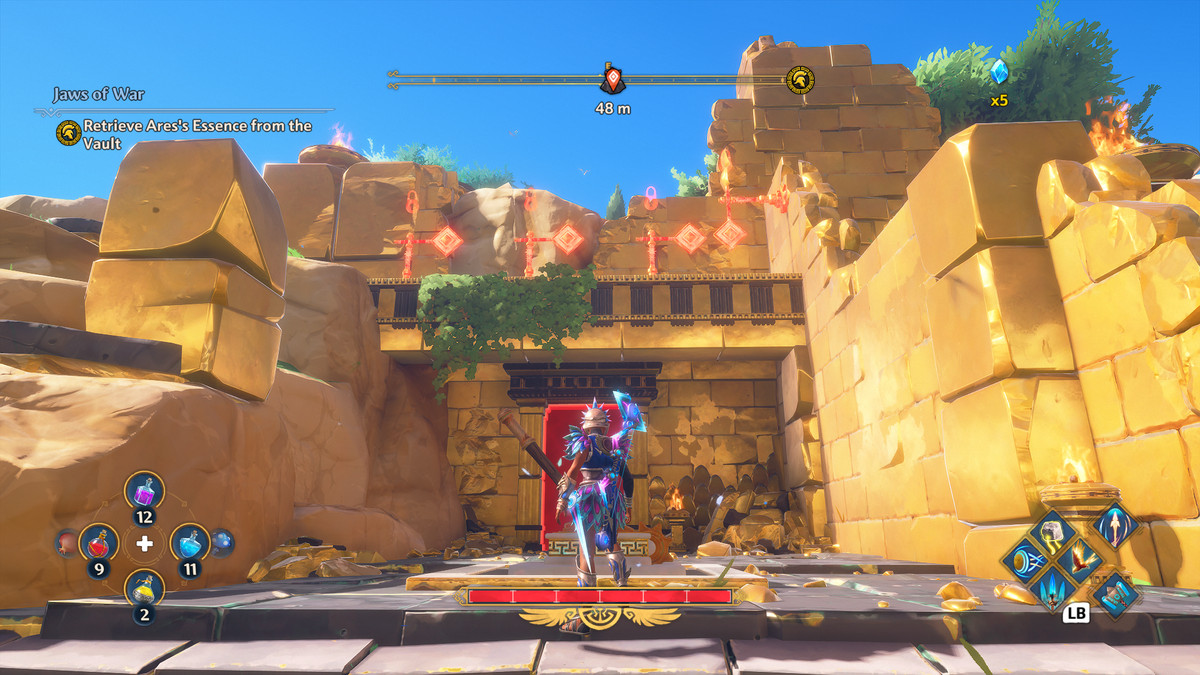 A puzzle solution for Stymphalian Nests Vault of Tartaros in Immortals Fenyx Rising
