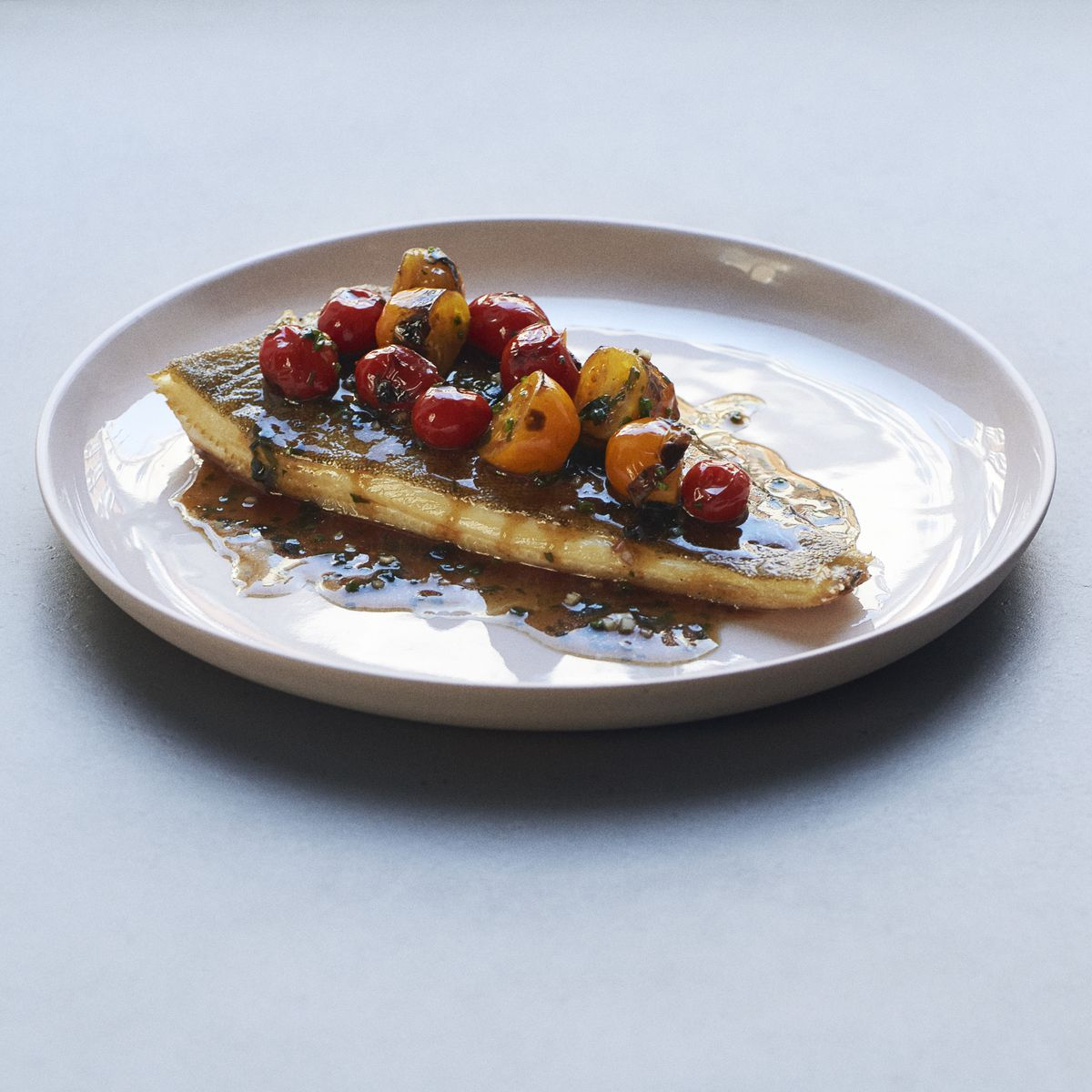 A mackerel and tomato dish at Two Lights, the new London restaurant from the Michelin Star and World's 50 Best Shoreditch restaurant, The Clove Club