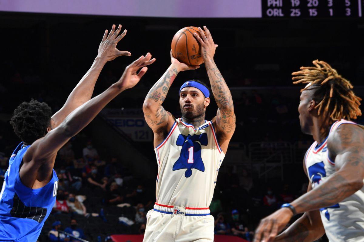 ike Scott #1 of the Philadelphia 76ers shoots the ball against the Orlando Magic on May 16, 2021 at Wells Fargo Center in Philadelphia, Pennsylvania.