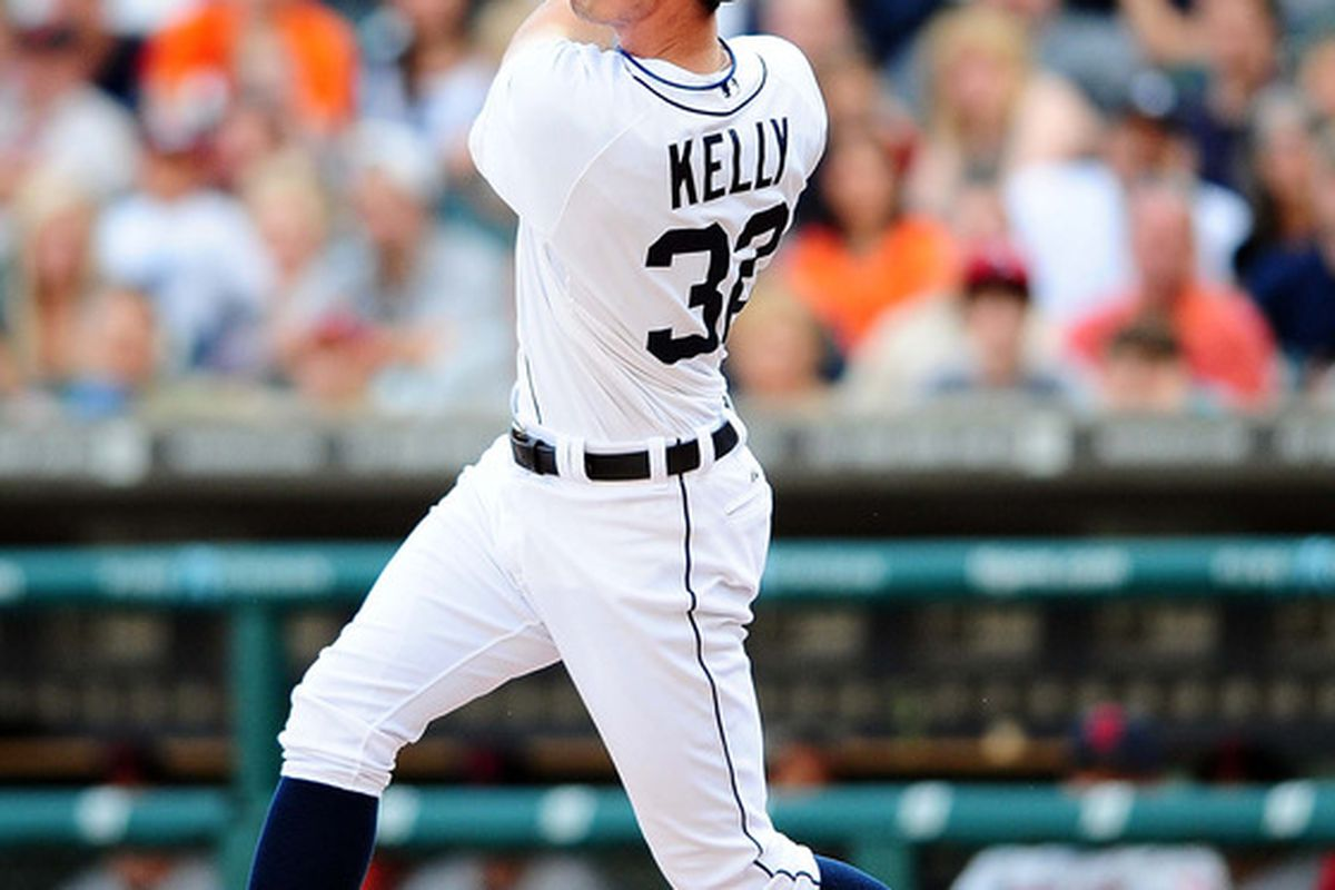June 5, 2012; Detroit, MI, USA; Detroit Tigers third baseman Don Kelly (32) hits a solo home run in the third inning against the Cleveland Indians at Comerica Park. Mandatory Credit: Andrew Weber-US PRESSWIRE