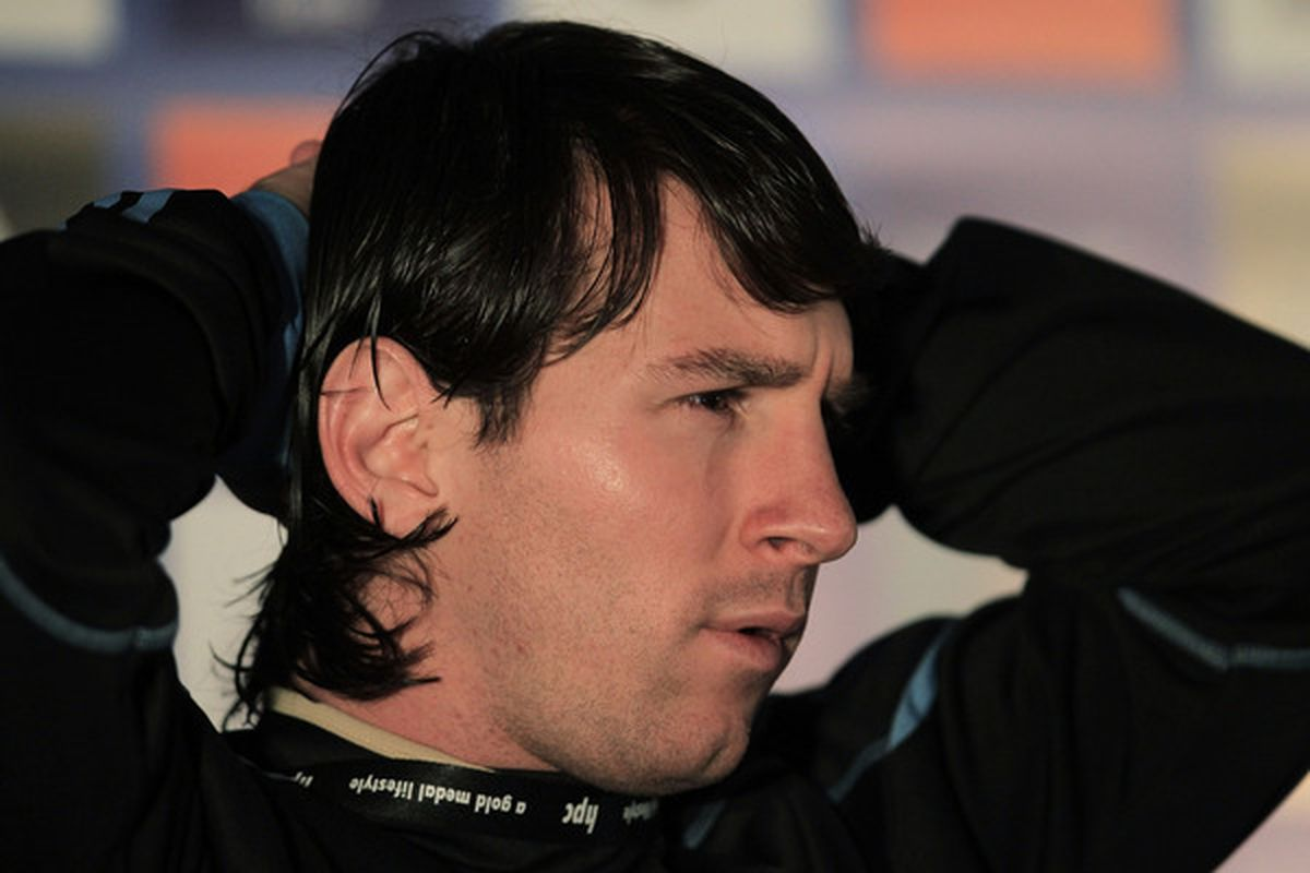 PRETORIA, SOUTH AFRICA - JUNE 13:  Lionel Messi of Argentina's national football team speaks to the media during a press conference on June 13, 2010 in Pretoria, South Africa.  (Photo by Chris McGrath/Getty Images)
