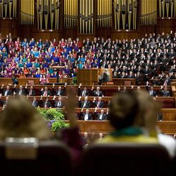 Members sustain the church leadership during the Saturday afternoon session of General conference Saturday, Oct. 6, 2012.